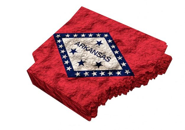 Carte de l'état américain de l'arkansas, avec drapeau, états-unis d'amérique