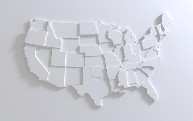 Carte des états-unis d'amérique sur fond blanc rendu 3d à plusieurs niveaux du territoire des états-unis vide