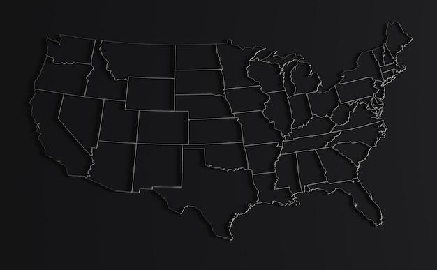 Carte des états-unis d'amérique sur fond noir rendu 3d du territoire vide des états-unis avec des frontières
