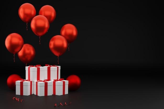 Carte de fête avec cadeaux et ballons rouges sur fond sombre, espace vide à droite. rendu 3d. modèle vide, maquette, fond de vacances ou de fête.