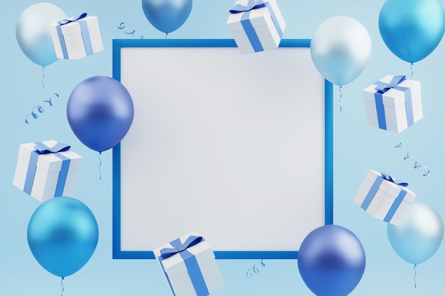 Carte de fête avec des cadeaux volants et des ballons colorés autour d'un cadre bleu vide sur fond bleu. rendu 3d. modèle vide, maquette, fond de vacances ou de fête.