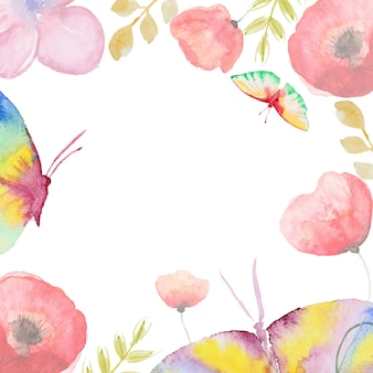 Carte de fleur aquarelle