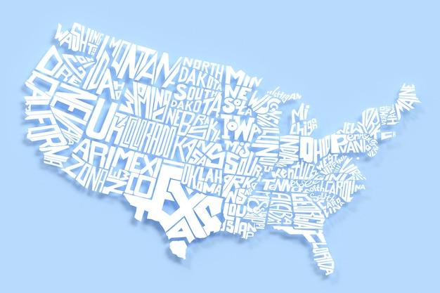 Carte géographique des états-unis d'amérique lettres blanches rendu 3d du lettrage du territoire américain