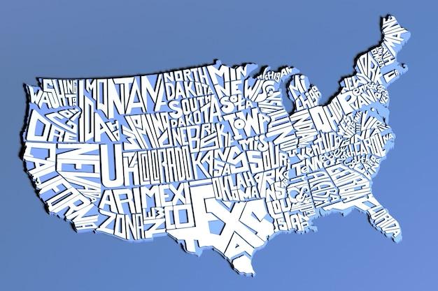 Carte géographique des états-unis d'amérique lettres blanches rendu 3d du territoire des états-unis de lettrage