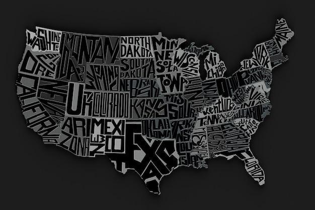 Carte géographique des états-unis d'amérique lettres métalliques rendu 3d du lettrage du territoire américain