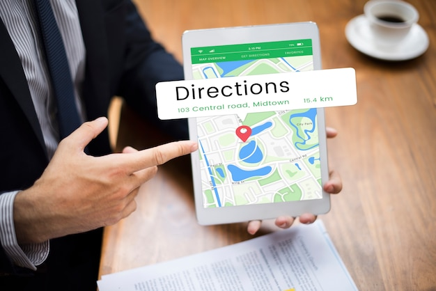 Carte gps position direction position graphique