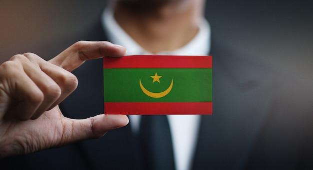 Carte de holding homme d'affaires du drapeau de la mauritanie