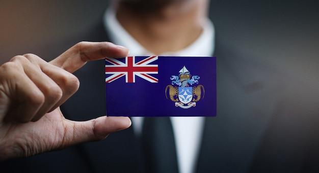 Carte de holding homme d'affaires du drapeau tristan da cunha