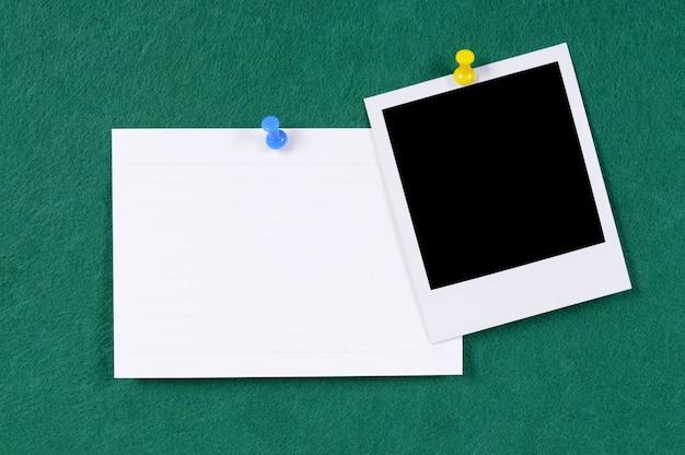 Carte index avec polaroid photo