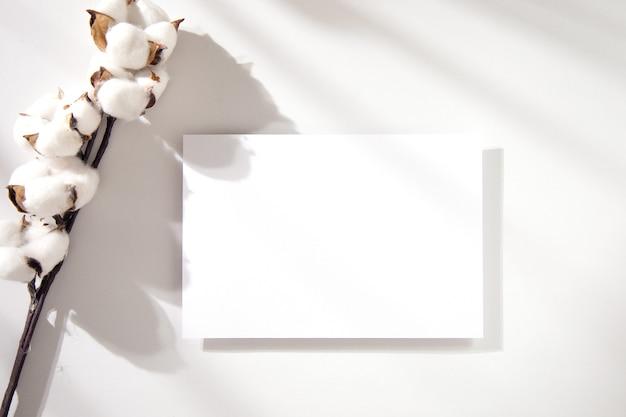 Carte d'invitation carrée avec une branche de coton