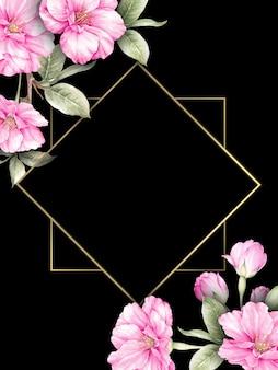 Carte d'invitation de mariage avec des fleurs de sakura sur noir.