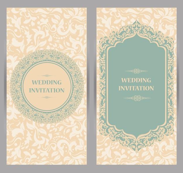 Carte d'invitation de mariage vintage avec motif mandala