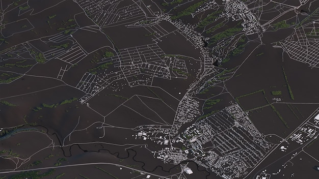 Carte de krasnoyarsk en 3d paysage isométrique routes et bâtiments
