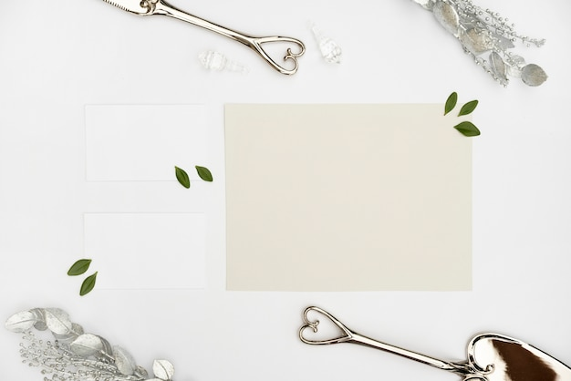 Carte de mariage maquette lay plat