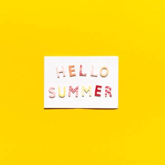 Carte avec message hello summer
