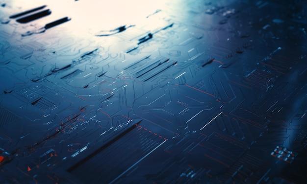 Carte de module pcb circuit gros plan de puce de vaisseau spatial dans la science-fiction