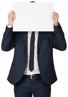 Carte montrant homme d'affaires à la caméra