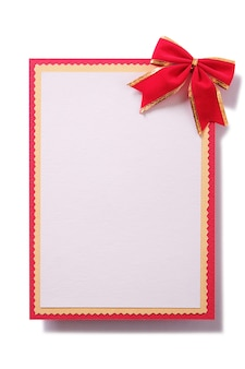 Carte de noël décoration arc rouge verticale