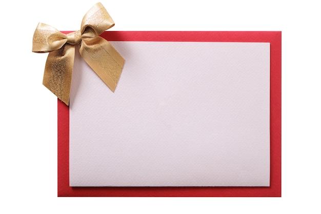Carte de noël or arc enveloppe rouge