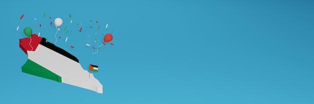 Carte de la palestine pour les médias sociaux et la couverture de fond de site web pour célébrer la journée nationale du shopping et la fête de l'indépendance nationale en rendu 3d