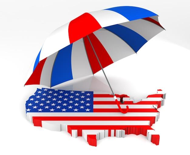Carte et parapluie isolés des états-unis. rendu 3d