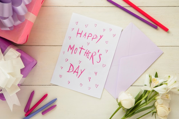 Carte postale pastel pour la bonne fête des mères