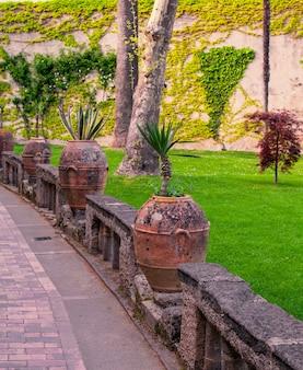 Carte postale photo avec terrasse avec fleurs et arbres dans le jardin côte amalfitaine, campanie, italie