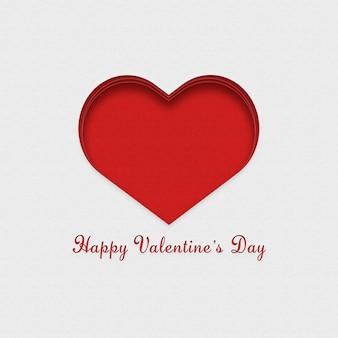 Carte postale rouge et blanche pour la saint valentin