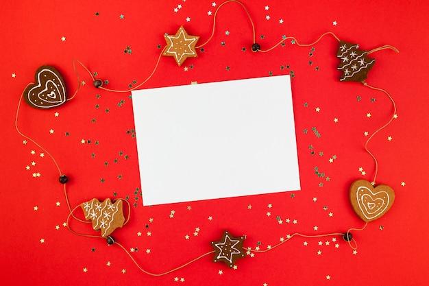 Carte postale de voeux de noël avec des paillettes