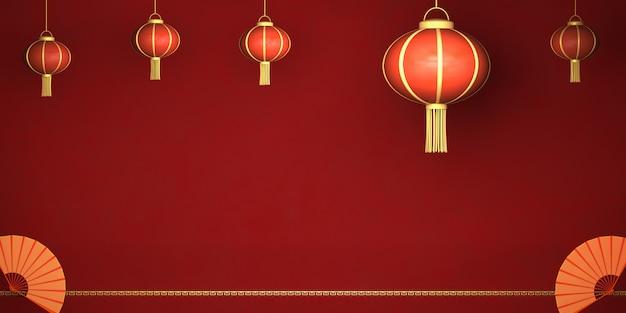 Carte de rendu 3d bonne année chinoise, lanterne chinoise sur fond rouge