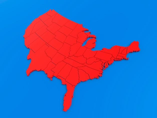 Carte rouge des états-unis d'amérique sur fond bleu rendu 3d réaliste du territoire clair des états-unis