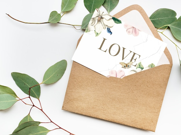 Carte saint valentin avec enveloppe