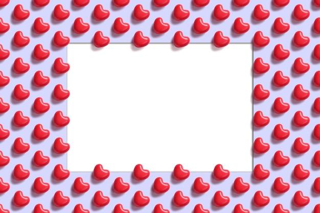 Carte de la saint-valentin. modèle sans couture avec entendre rouge sur fond bleu avec une place vide blanche pour le texte au centre. concept d'amour.