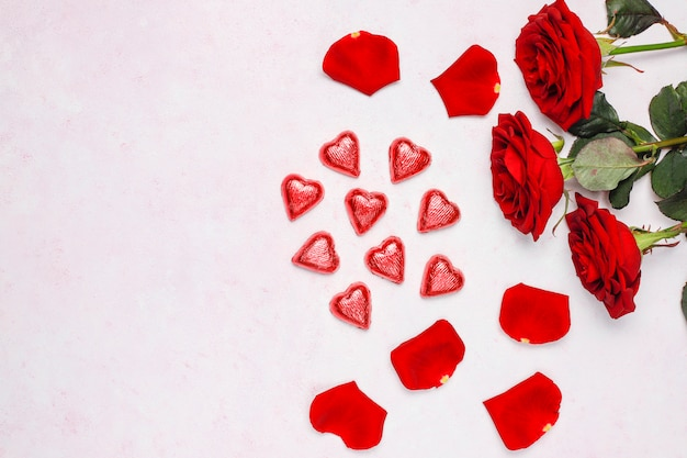 Carte de saint valentin avec roses