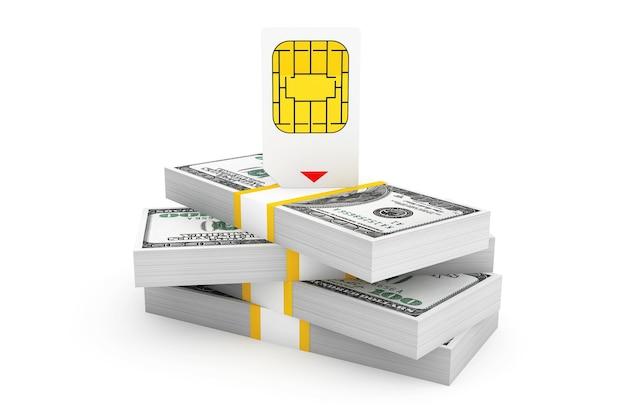 Carte sim pour téléphone mobile sur pile de billets d'un dollar sur fond blanc