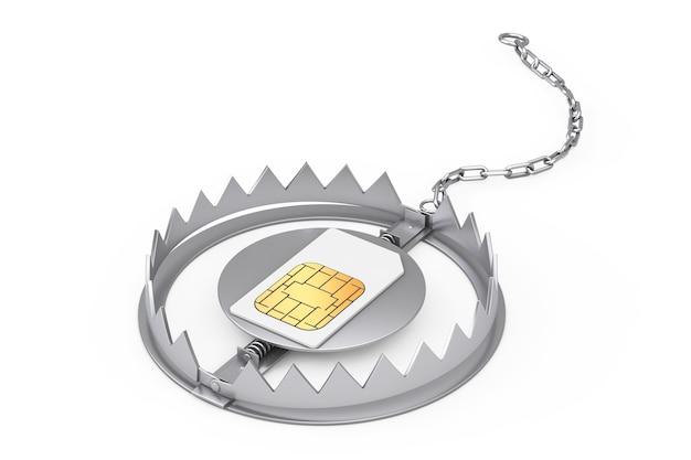 Carte sim de téléphone portable dans un piège à ours en métal sur fond blanc. rendu 3d