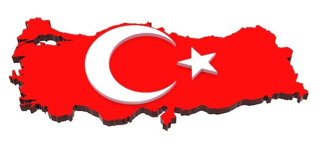 Carte tridimensionnelle de la turquie aux couleurs du drapeau turc