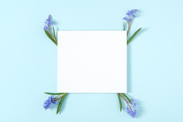 Carte vierge avec cadre en fleurs de perce-neige
