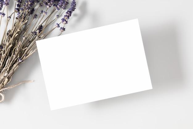 Carte vierge ou note avec des fleurs de lavande séchées sur fond blanc