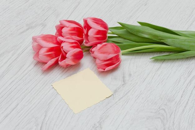 Carte vierge et tulipes roses.