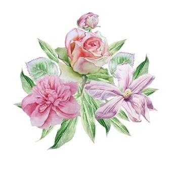 Carte vintage avec des fleurs de printemps.
