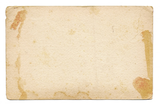 Carte vintage vide et ancienne isolée sur fond blanc
