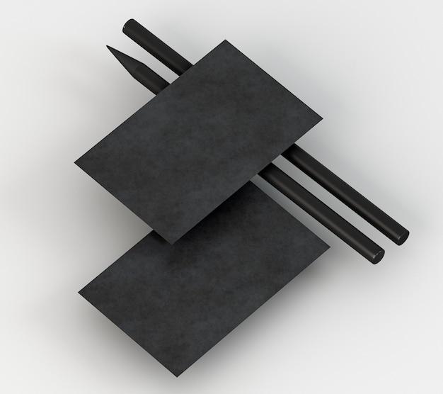 Carte de visite et crayon noir de papeterie d'entreprise vierge