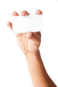 Carte de visite dans la main de l'homme sur fond blanc