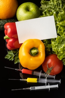 Carte de visite de l'espace de copie et d'aliments modifiés chimiques ogm