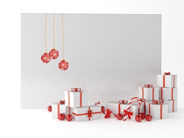 Carte de voeux 3d avec boîtes à cadeaux et décoration de noël