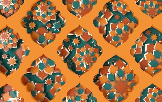 Carte de voeux avec graphique en papier arabe complexe de l'art géométrique islamique