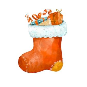 Carte de voeux d'hiver, chaussette de noël isolé sur fond blanc. illustration de vacances vintage