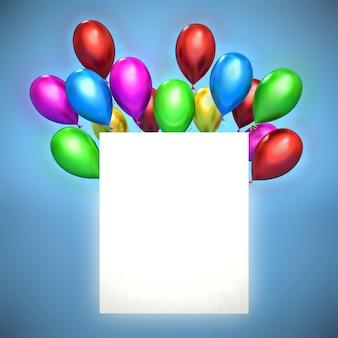 Carte de voeux de joyeux anniversaire avec des ballons rouges 3d