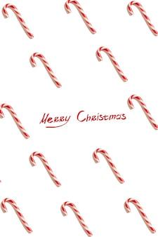 Carte de voeux de noël. fond blanc. symbole du nouvel an. cône de bonbons de noël. modèle